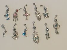 11 Piece Lot Belly Navel Rings Body Jewelry Sun Catcher Turtle Anchor Salamander