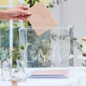 Botanical Wedding Clear Acrylic Card Box - 25cm Decorations Tableware