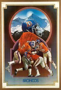 """BRONCOS MOUNTAIN"" (1976) *DENVER FOOTBALL* Vintage *NFL POSTER* Oakland Raiders"