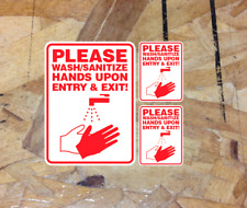 Please Wash Sanitize Hands On Entry & Exit Sticker Decal Safety Sign Sterilize