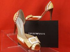 NIB EMPORIO ARMANI BEIGE CORAL PATENT LEATHER OPEN TOE BOW BUCKLE PUMPS 37 $400