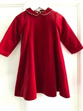 Authentic Burberry Girls Red Velvet Peter Pan Collar Dress 2Y 2A