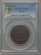 MEXICO ESTADOS UNIDOS 1917  5 CENTAVOS COIN CERTIFIED CIRCULATED PCGS VF30