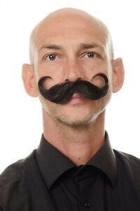 Bart aus Echthaar Schnurrbart gezwirbelt geschwungene Spitzen braun MU11-5