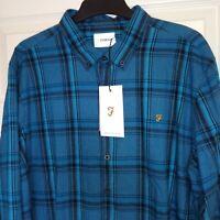 Farah Mens Shirt XXL Button Down Teal Check Long Sleeved Brushed Cotton RRP £65