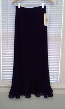 NWT NEW - MSK - long black lined skirt pull on elastic waist - SIZE M - USA