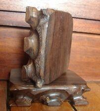 SOCLE PRESENTOIR STATUE BOUDDHA SCULPTURE VASE OBJET VITRINE BOIS 8,8x7x2,4 cm