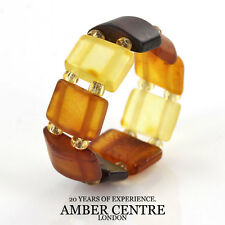 German Baltic Butterscotch & Cognac Amber Handmade Elastic Ring RB014- RRP£35!!!