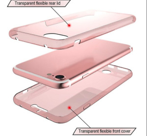 iPhone 4/5/6/7 PLUS LIGHT PINK Silicone Two Crystal Phone Case