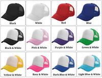 Mens Womens Mesh Baseball Cap Trucker Hat Plain Snapback Adjustable Curved Visor