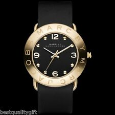 NEW MARC JACOBS AMY BLACK LEATHER BAND,GOLD TONE LADY'S WATCH-MBM1154+BOX