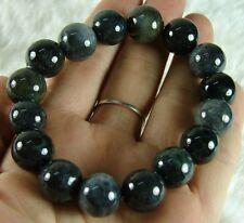 Black Elastic Bead Bracelet Chinese 100% Natural Grade A Jade Jadeite B162