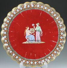 Rare and Unique Spode 19th Century Chelsea Shape Red Plate For Burley & Co