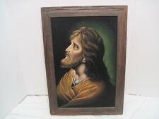 Vtg Antique Velvet Picture Jesus Religious Ornate Wood framed Old Picture Nice