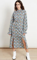 Influence Dress Size 8 & 12 Long Sleeve Midi Blue Floral Print New HA11