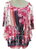Style & Co blouse top size 2X pink black floral butterfly sleeve beads stretch