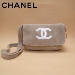 dCHANEL PRECISION CC Logo Shoulder Bag Pile Towelling Beige