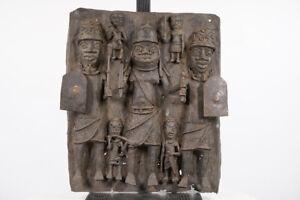 """Beautiful Benin Bronze Plaque 18.5"""" - Nigeria - African Art"""