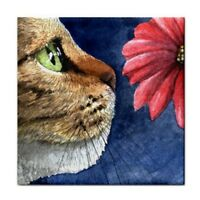 Large Ceramic Tile 6x6 Cat 626 flower from art painting by L.Dumas