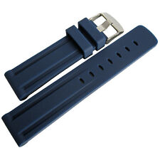 22mm Hadley-Roma MS3373 Mens Blue Grooved Silicone Rubber Dive Watch Band Strap