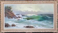 Large Early 20th Century European Seascape Waves Beach Coastal BOMUZEN