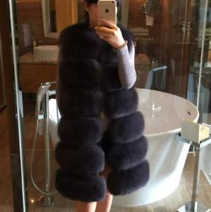 Womens Vest Blend Fur Coats Mid Length Casual Splice Warm Winter Plus Chic Slim