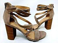 NEW! Lauren Conrad Women's Walnut High Heel Sandals Taupe #160089 2F tp