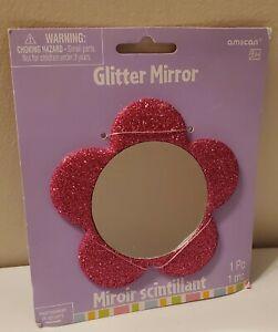 """Glitter Mirror: travel mirror flower shape pink """" NEW"""""""