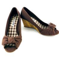 American Eagle AEO Jenerr Peep Toe Wedge Cork Heel Cafe Brown Women's Size 8