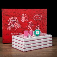 Traditional Chinese Mahjong Game Set 144 + 2 Spares Pink