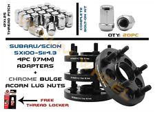 """(4) 17mm Subaru to Scion  Conversion Adapter 5x100/5x4.5"""" + 20pc Lug Nut Kit"""