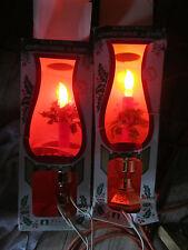 Vintage Lot Beacon Electric Christmas Hurricane Lamp Glass Chimney Light Bulb
