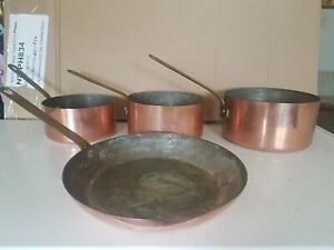 Mauviel Vintage Copper Set 3 Pans And 1 Frying Pan Made In France