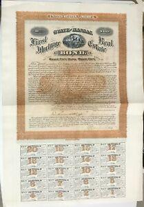 1882 OSAGE CITY BANK Gigantic $100 Bond Certificate KANSAS