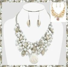 Cluster Bib Faux Pearl Bead Beaded Chunky Sea Shell Charm Necklace Statement