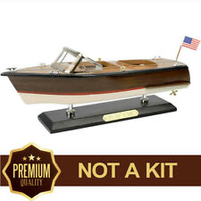 Chris Craft Boat Model Wooden Ship Runaboat Speedboat Handcrafted Assembled 14""