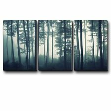 Three Piece Canvas - Teal Tree Forest in a Foggy Morning - Canvas Art - 16x24