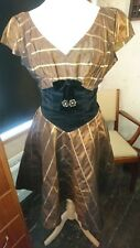 Lovely Vintage 40s/50s Bronze Gold Taffeta Velvet Prom Party Circle Dress 8-10