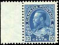 Canada #117 mint F-VF OG NH 1922 King George V 10c blue Admiral with Selvedge