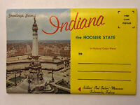 Unused Souvenir Foldout Folder Postcard Greetings From Indiana The Hoosier State