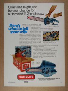 1970 Homelite E-Z Chain Saw vintage print Ad