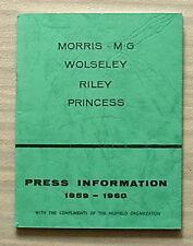 NUFFIELD PRESS INFORMATION Booklet 1959-60 MORRIS Wolseley MG Riley PRINCESS