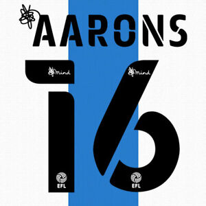 2020 2021 OFFICIAL HUDDERSFIELD TOWN HOME NAME SET AARONS 16 = PLAYER SIZE