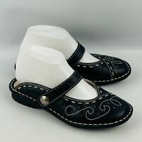 Womens 38 US 7.5-8 Spring Step Growth Mules Black Leather Embroidered Clogs