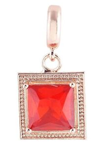 Rose Gold Plated Red Crystal Square Charm For Endless Story Leather Bracelet