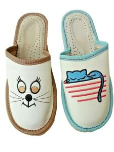 Womens  Leather Slippers  Slip On Cat Mules sandals Ladies Size 4 5 6 7 8 9 10.