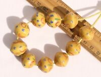 Antique Fancy Yellow Bicone King Beads (10) African Trade Venetian Glass