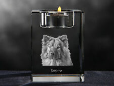 Eurasier, crystal candlestick with dog, souvenir, Crystal Animals Usa