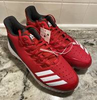 NEW adidas Men Size 7.5 Icon Bounce Baseball Cleats Lace Up Red White CG5241