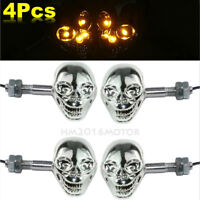 4x Chrome Skull LED Turn Signals For Yamaha Virago 250 500 535 700 750 920 1100